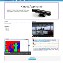 Got an Kinect App? Need a web site? Here's a template for you...