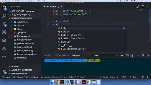 IntelliCode for Python in Visual Studio Code